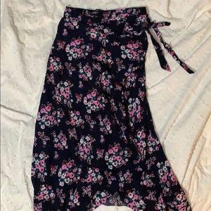 F21 floral wrap maxi skirt